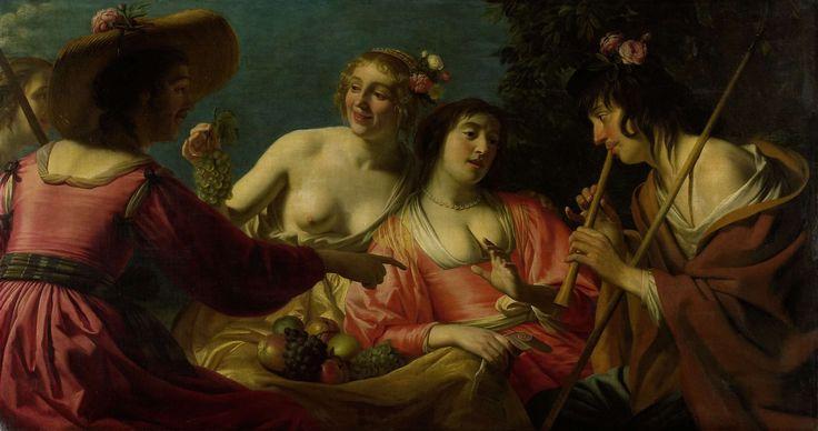 Fluitspelende herder en vier nimfen, Gerard van Honthorst, 1632