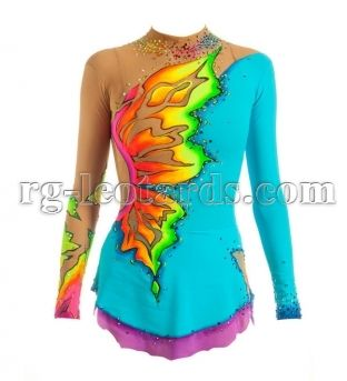Rainbow butterfly rhythmic gymnastics leotard