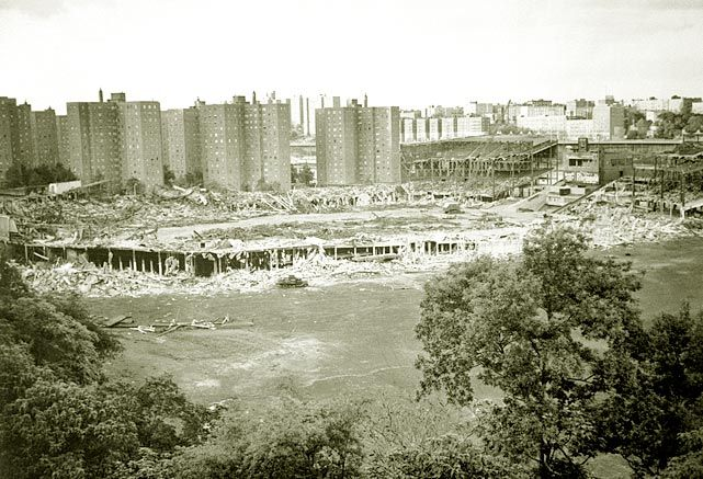 Polo Grounds being demolished.