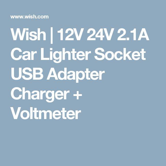 Wish | 12V 24V 2.1A Car Lighter Socket USB Adapter Charger + Voltmeter