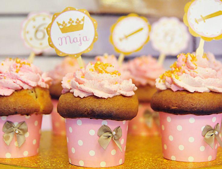 Foremki do pieczenia babeczek różowe w groszki- partymika