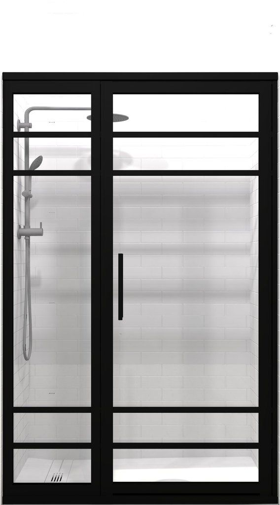 Gridscape Gs2 4 Hinged Door And Panel In Black Finish And Clear