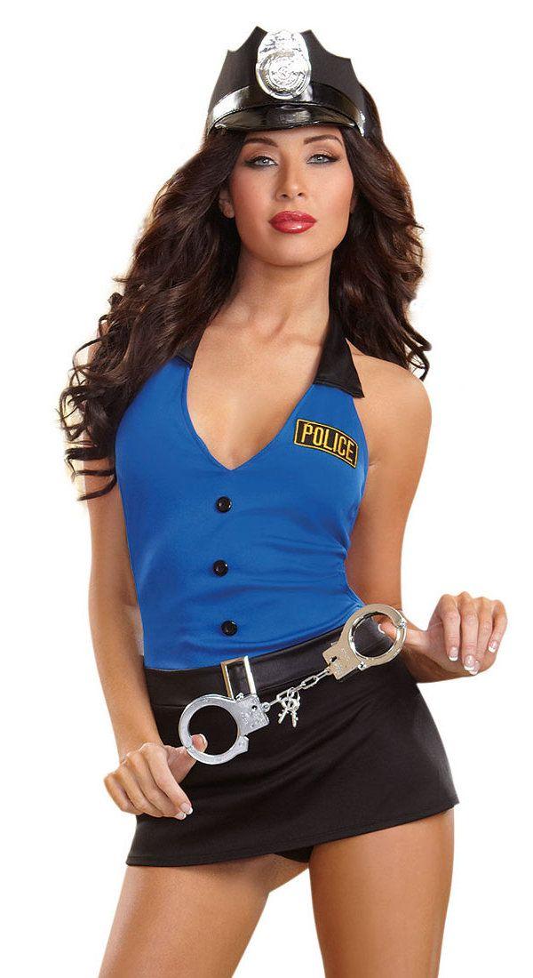 """Ce sexy costume de police """"Lieutenant Lusty"""" comprend une nuisette stretch ouverte au dos avec un string, des menottes et un chapeau. Un produit de la collection Dreamgirl."""