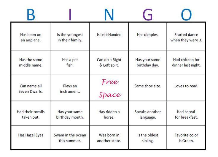 ice breaker bingo template elementary - Google Search ...