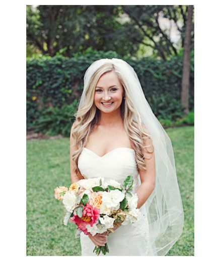Long and Wavy If you'll be donning a fingertip-length veil, keep strands simple and understated—but just as beautiful—with a standard blowout.