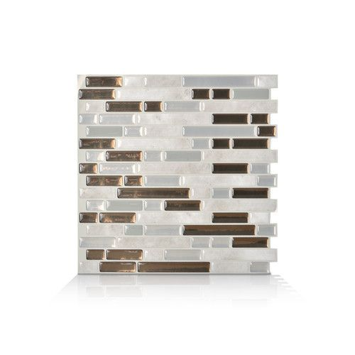 "Smart Tiles 10"" x 10"" Mosaik Self Adhesive Wall Tile in Gray & Brown"