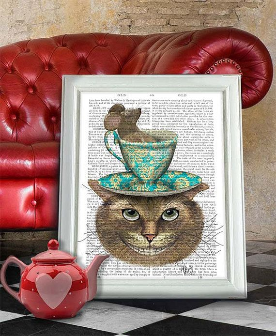 Alice in Wonderland Art Cheshire Cat Teacup on Head  by FabFunky