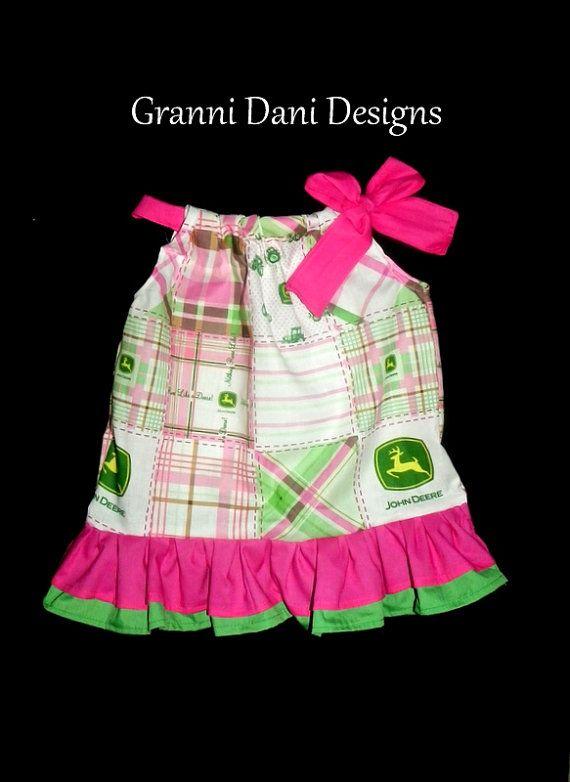 JOHN DEERE pillowcase dress patchwork double ruffle 0 3 6 9 12 18 months 2t 3t