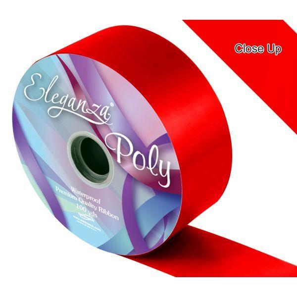 PREORDER Radient Red 50mm x 91m Eleganza Poly satin ribbon