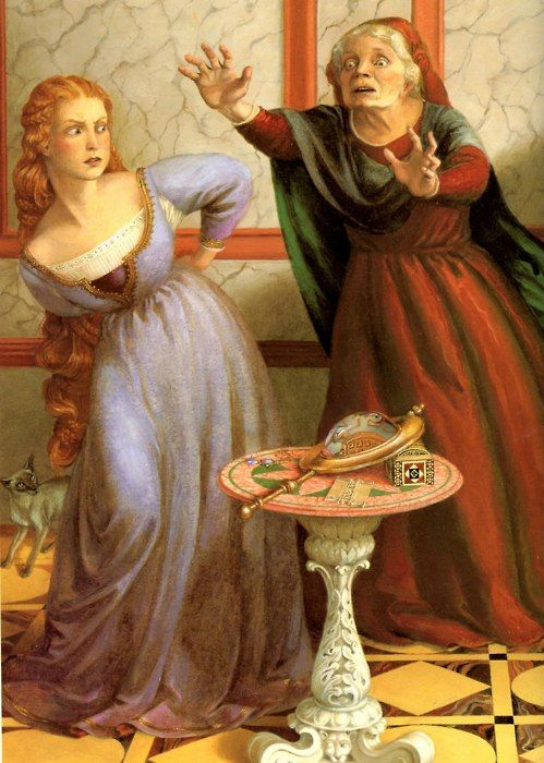 "Rapunzel illustrated by Paul O. Zelinsky    One  day when the sorceress entered the tower, Rapunzel said, ""If you please,  Stepmother, help me with my dress.  It is growing so tight around my  waist, it doesn't want to fit me anymore."" Instantly the sorceress understood what Rapunzel did not.  ""Oh, you  wicked child!"" she shrieked.  ""What do I hear you say?  I thought I had  kept you safe, away from the whole world, but you have betrayed me!""    Yes, Mother"