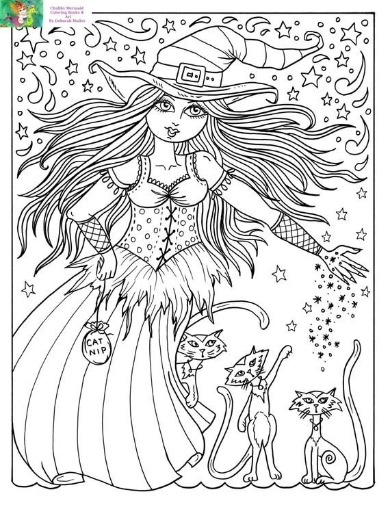 Telecharger Coloring Page Sorciere Et Chats Halloween Fun