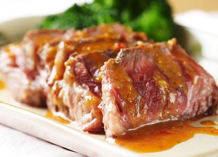 Cuete de U.S. Beef  mechado en salsa de chiltepín y cacahuate