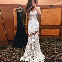 Robe De Soirée Luxo Applique Da Sereia Vestido de Noite 2017 Novo estilo Colher Sheer Neck Branco Vestidos Longos Vestido De Noite Festa alishoppbrasil