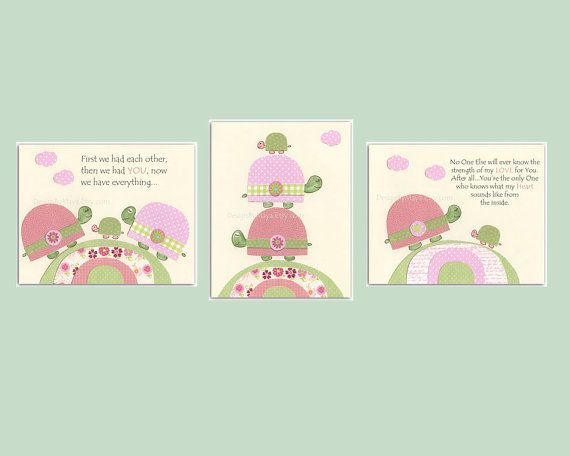 Baby girl, Nursery wall art print, Baby room decor, baby turtle, set of 3 11x14, match to the colors of Hayley bedding set, pink green on Etsy, $70.00