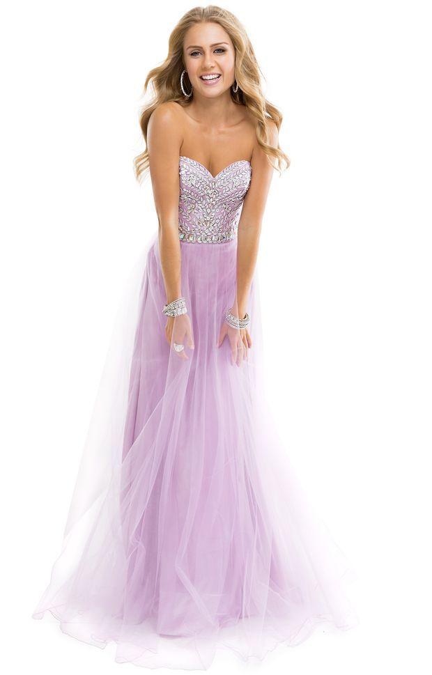 Flirt P3878 Prom Dress. Beautiful and cute light purple prom dress. Looks like it has some elegant sparkle and frill