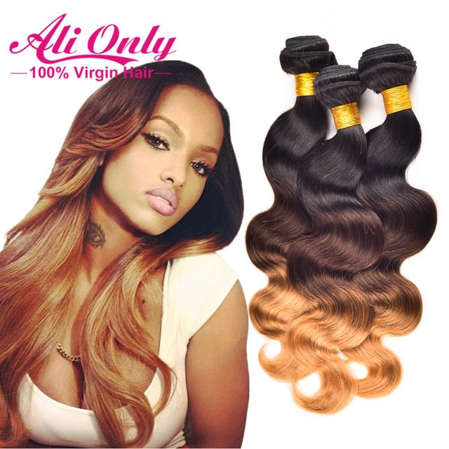 Alionly brand Ombre Brazilian Human Hair Weave Bundles Body Wave