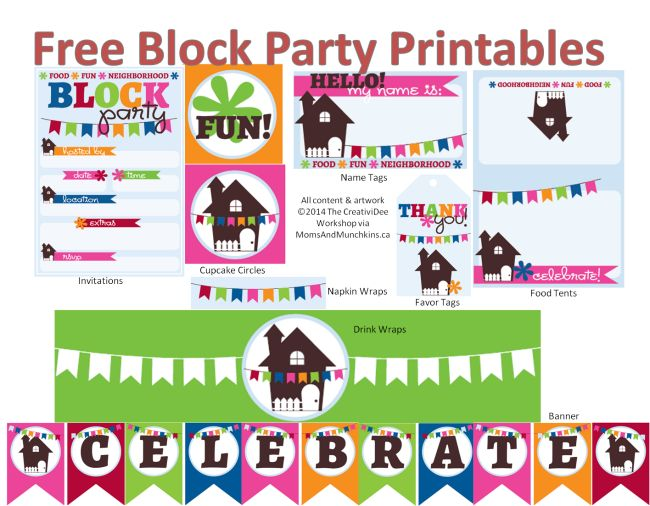 Free Neighborhood Block Party Printables #BlockParty http://www.momsandmunchkins.ca/2014/07/04/neighborhood-block-party/
