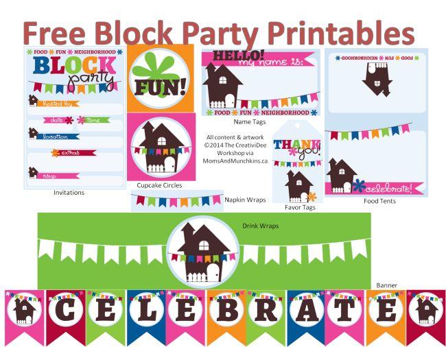 Free Neighborhood Block Party Printables #BlockParty http://www.momsandmunchkins.ca/2014/07/04/neighborhood-block-party/