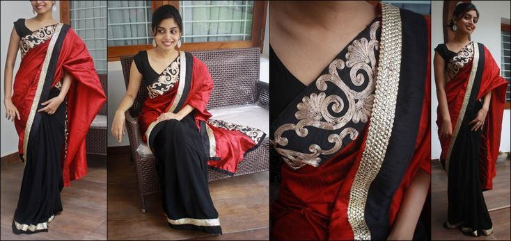 https://flic.kr/p/9VPECm | Z1 | Rs. 6370 Red raw silk and black semi crepe saree. Borders - sequinned band and silver wire work Blouse - Red silk cotton If sold, orders can be taken for similar pieces