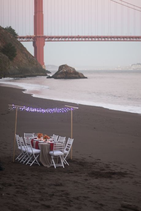 Dinner party on the beach!  Although you can't see the Golden Gate birdge from our house... you can see the Ocean Springs Bridge