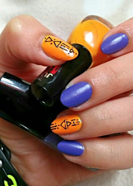 Purple and orange nails / Fioletowo pomarańczowe