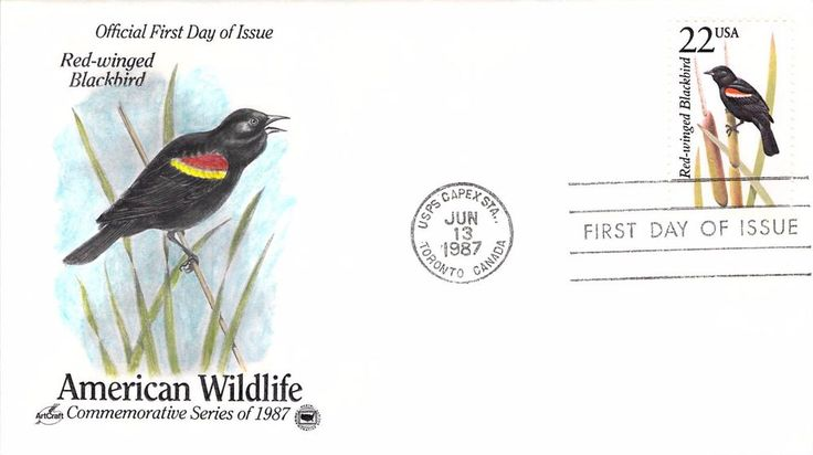 1987 Red-winged Blackbird Hand Colored Art Craft First Day Cover