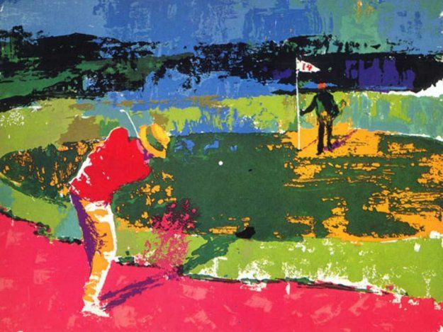 Chipping on 1972 Sam Sneed by LeRoy Neiman