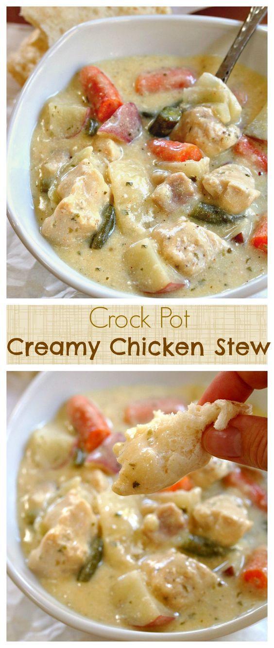 Crock Pot Creamy Chicken Stew Recipe | The Cozy Cook