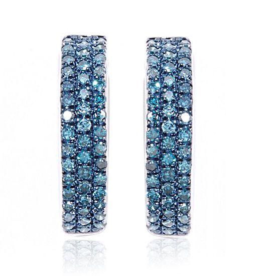 0.5ct Blue Diamond Hugger Hoop Earrings 10K Solid White Gold #gemdepot #Hoop #BlackFridaysDeals