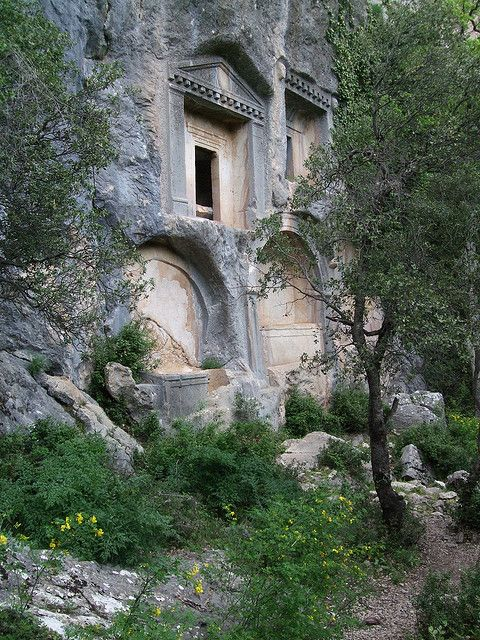 Rock cut tombs in the pisidian city of Termessos, southern Turkey