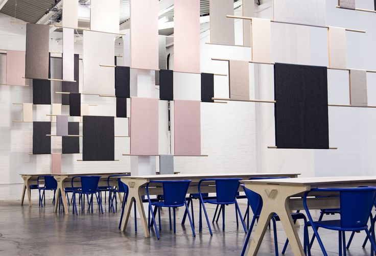 Rive Roshan_London Design Fair 2016_ Installation For Café During LDF 2016. Rive Roshan was commissioned by London Design Fair to design an installation to separate the space loosely into separate tables and improve both acoustics and provide a visual softness to the industrial backdrop of the Old Truman Brewery in London's East End. The installation was made using Kvadrat Divina in tints of grey and soft pink to balance the Yves Klein blue that is the signature colour of London Design Fair.