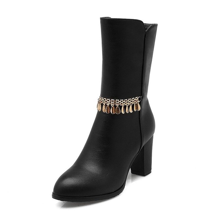Women's High-Heels Frosted Low-Top Solid Zipper Boots With Charms Black 37