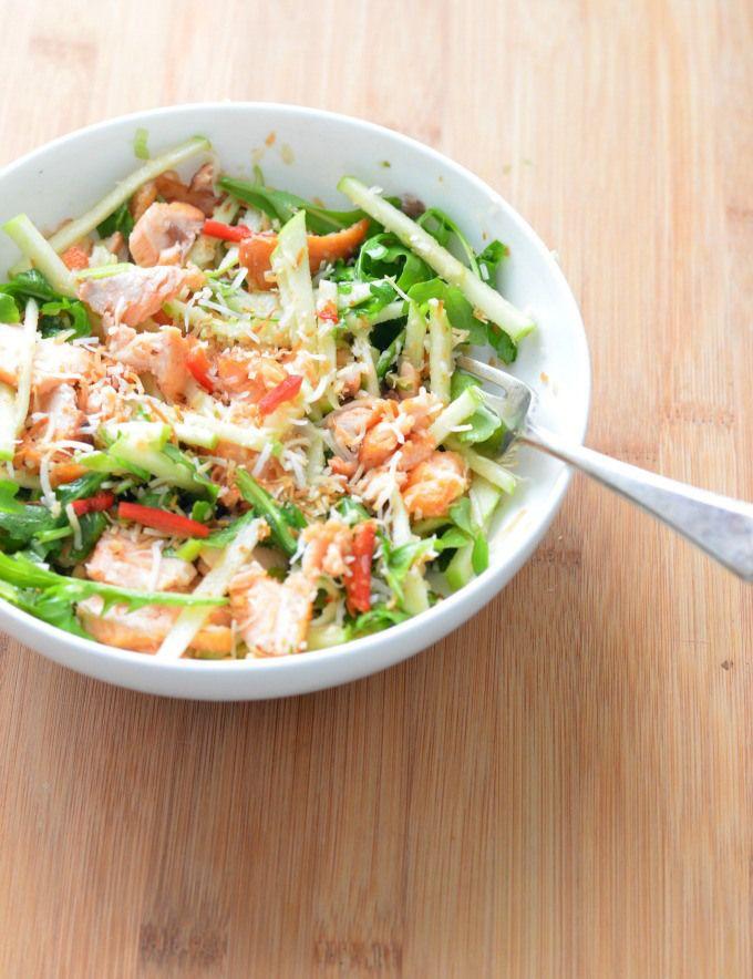 Crispy salmon salad with chilli lime caramel