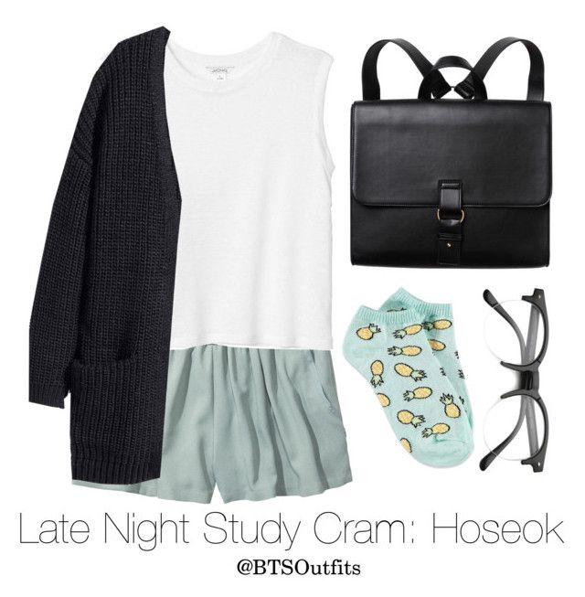"""""""Late Night Exam Cram: Hoseok"""" by btsoutfits ❤ liked on Polyvore featuring Monki and Forever 21"""