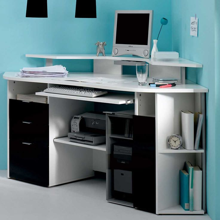 Cool And Modern Computer Room Decor Ideas : Entrancing Light Blue Computer  Room Design With White Multifunction Corner Computer Desk Integrated With  ...