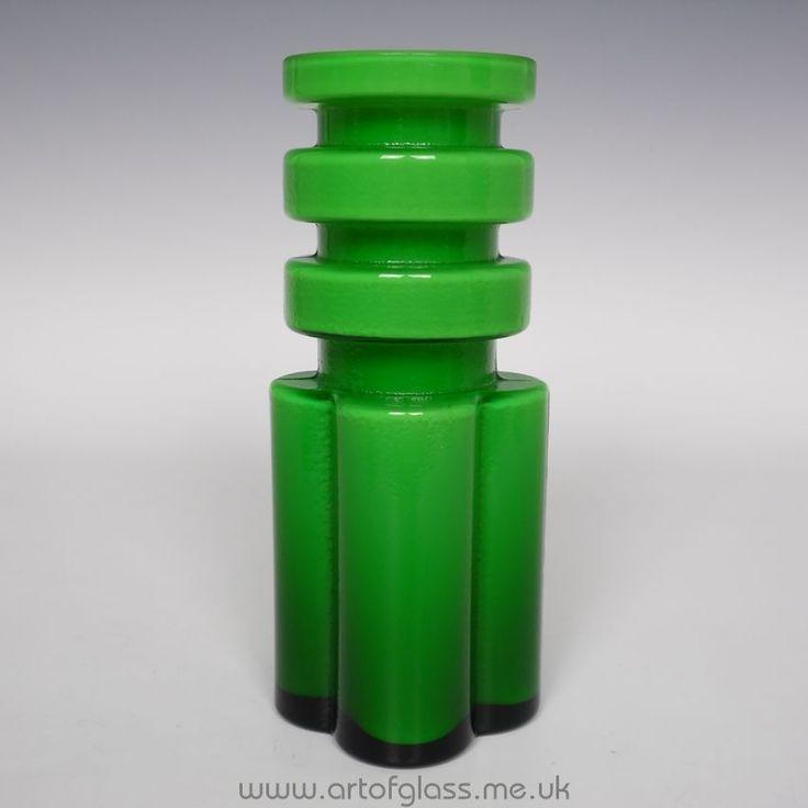Alsterfors green glass vase by Per-Olof Ström