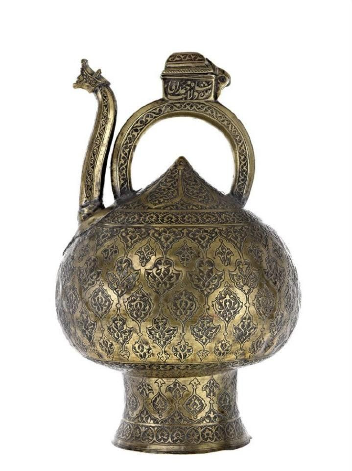 Brass ewer, engraved, Iran, early 17th century. — at National Museums Scotland
