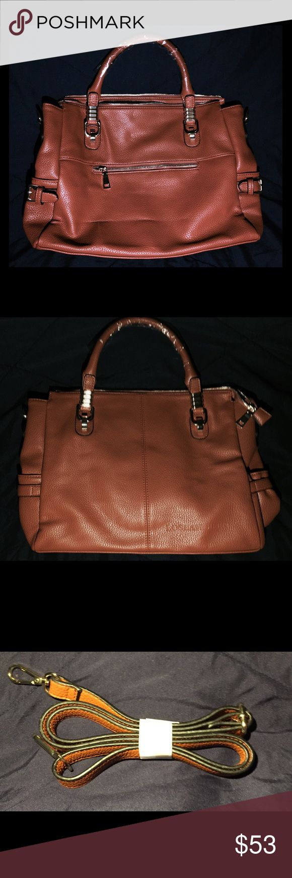 Manmade Leather Brown Shoulder Bag A beautiful day-to-evening brown shoulder bag. Each zipper has golden finishing. (The shine on the handle is just glare from a plastic cover). 30% OFF SPECIAL SALE! Bags Shoulder Bags