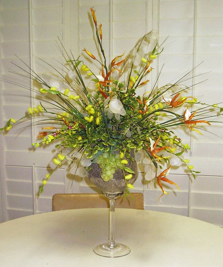 Silk Arrangement In Large Wine Glass Things I Have Made