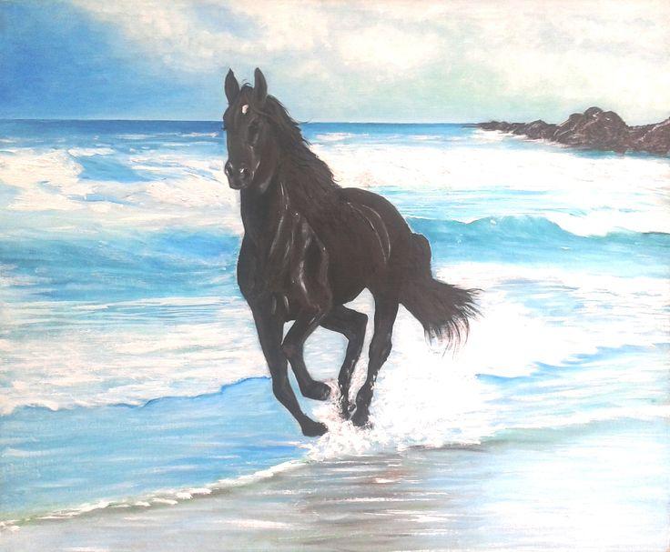 Norka Ubilla - Potro negro óleo sobre tela 80x60 (aprox) (pintura original, inspirada en fotografía)