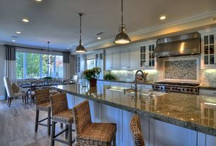 Traditional Kitchen with Glass panel, Pendant Light, Large Ceramic Tile, Chandelier, Simple granite counters, Breakfast bar