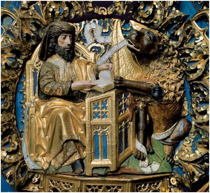 San Marcos Evangelista y su atributo - el león. Cartuja de Miraflores. Gil de Siloe.