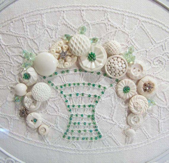 White Shabby Cottage Vintage Button Art