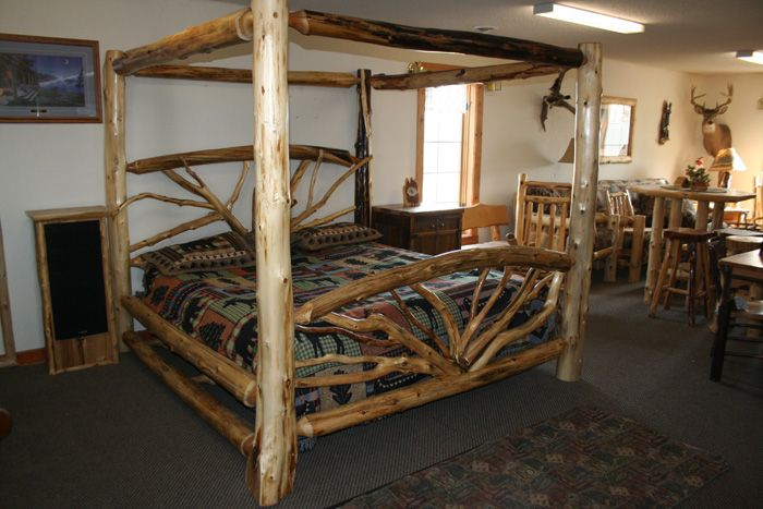 1000 ideas about log bed frame on pinterest log bed for Log cabin style bunk beds