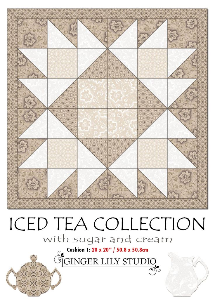 "1 Iced Tea Collection Cushion Pattern1.  The Pdf of the Iced Tea 20 x 20"" (50.8 x 50.8cm) Cushion 1 Pattern is available for free download here: http://www.gingerlilystudio.com/wp-content/uploads/2016/04/Iced-Tea-Collection-cushion1-pattern.pdf"
