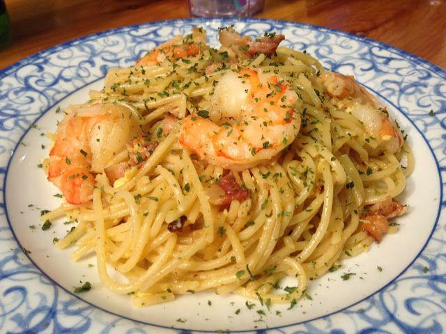 Shrimp & Bacon Carbonara! Easy - Quick - Tasty!