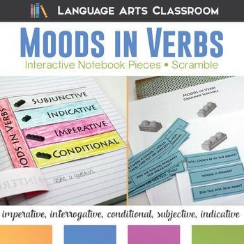 Moods in Verbs Interactive Notebook Pieces and Scramble: practice imperative, interrogative, conditional, subjective, and indicative verb moods with this grammar activity.