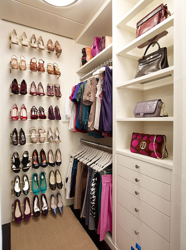 Putting the shoes on an end wall is a great way to make the most of a small walk-in closet...kids closet.