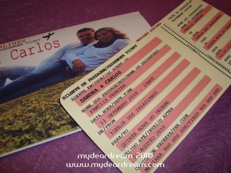 Convites de Bilhetes de Avião : fóruns | O Nosso Casamento  Ignora a foto de capa ;))