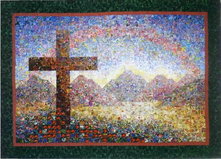 """This is my Isaiah 51 quilt. It was inspired by the Bible verse which says """"And the wilderness He will make like Eden, and the desert like the garden of the Lord"""".  The promise was fulfilled in Christ as our lives are transformed by the power of the Gospel."""